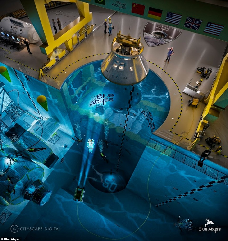 The Blue Abyss pool will act as a research, test and training centre serving the offshore energy, marine, defence and space sectors. Concept image released byBlue Abyss