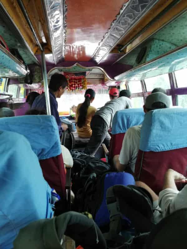 Scene on board backpacker bus