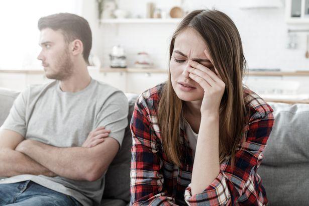 An upset man and woman
