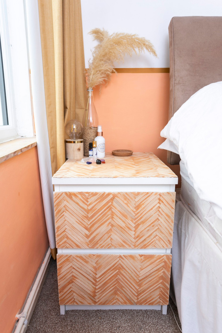 What I Rent: Jess, Wirral, Merseyside: orange chest of drawers by side of bed