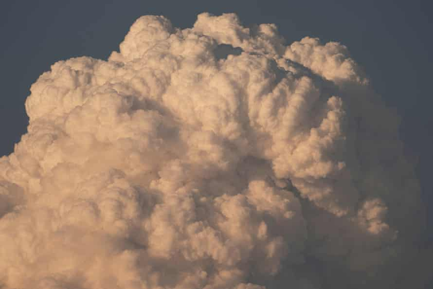 A pyrocumulus cloud rises from the Bootleg fire as it continues to grow in size near Bly, Oregon, on Saturday.
