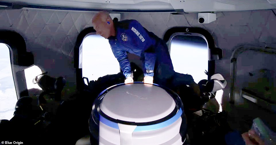 Bezos floats in space after being launched 66 miles into space on Tuesday morning by the New Shepard rocket