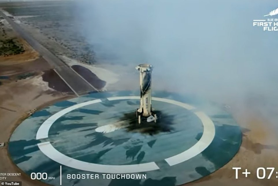 This is the moment the rocket booster returned to ground after successfully launching the capsule and separating from it