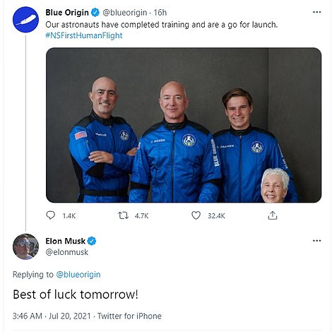 Bezos' billionaire space race rivals Elon Musk and Richard Branson wished him well before the mission. Branson congratulated him