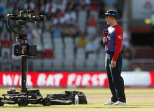 England's Eoin Morgan is interviewed before the match.