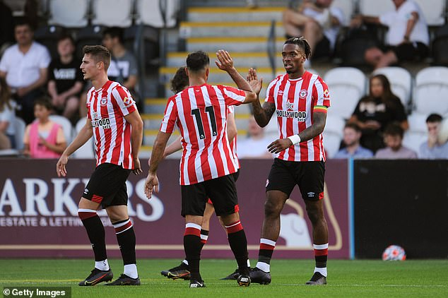 Ivan Toney (right) scored as Brentford beat Boreham Wood in a friendly on Tuesday night