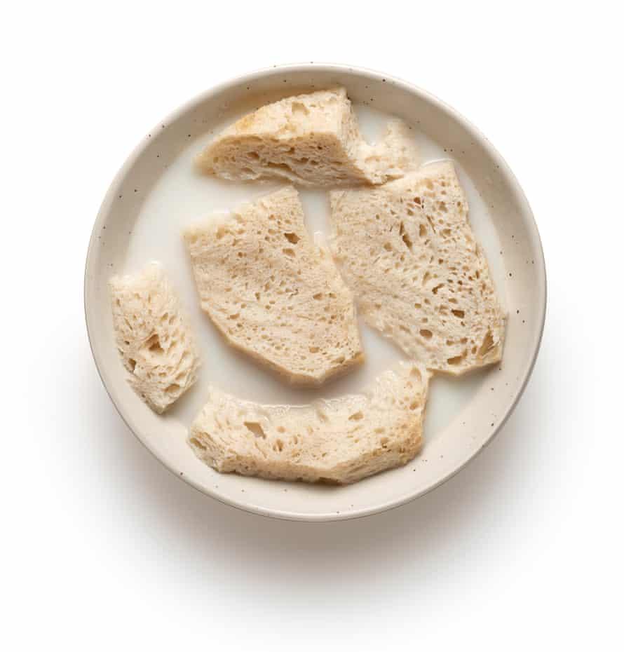 Felicity Cloake's ajo blanco 2: soak the bread.