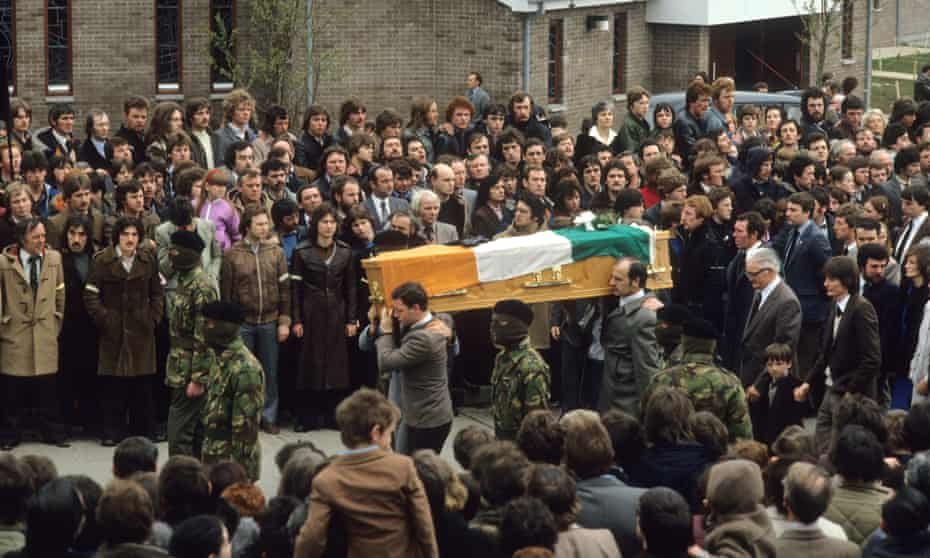 The funeral of Bobby Sands, a Provisional IRA member who died in Long Kesh prison following a hunger strike, 1981