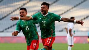 Alexis Vega of Mexico celebrates scoring their first goal.