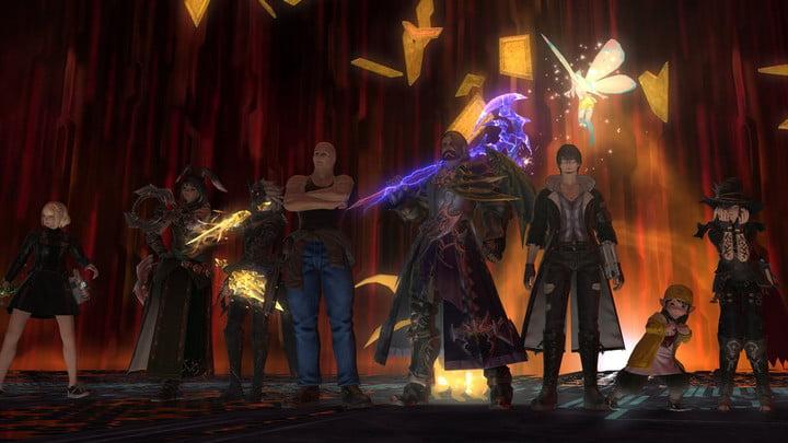 Asmongold posing with his Final Fantasy XIV raid team.