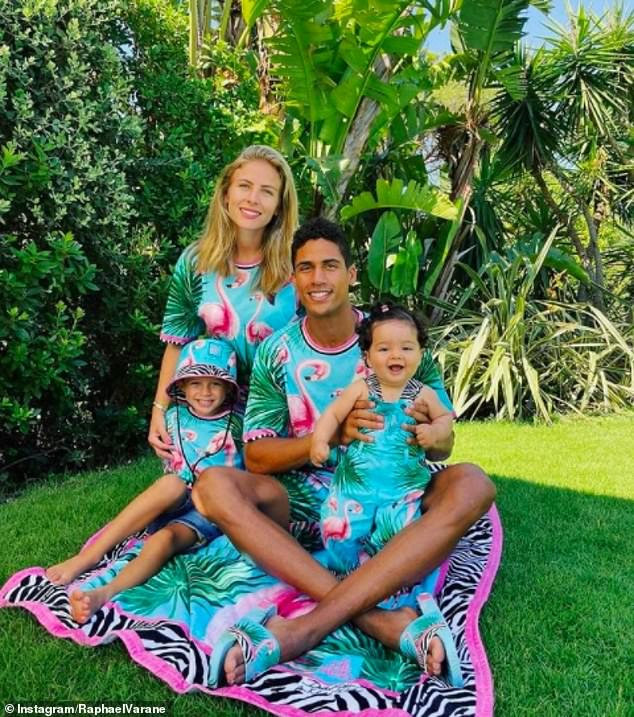 Varane in a recent Instagram picture with wife Camille and children Ruben and Anais