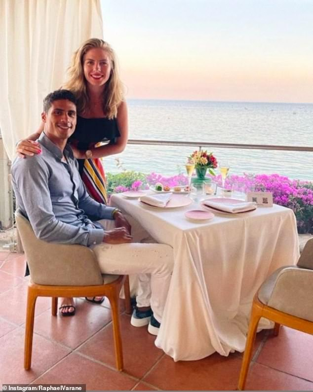 Varane on a date night with wife Camille. The pair married in 2015 and the defender is very much the devoted family man