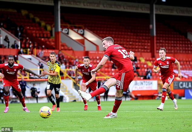 Lewis Ferguson then netted a penalty to double the lead in the Europa Conference League second round first leg