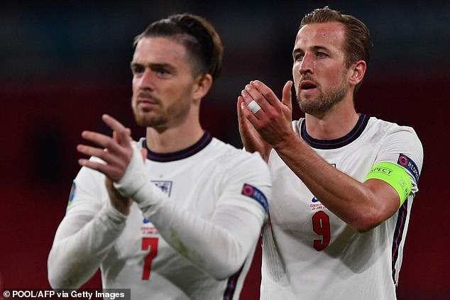 Sportsmail revealed in March that City had emerged as frontrunners for Grealish's signature and they still hold out hope they can sign Harry Kane (right)