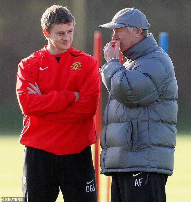 Solskjaer admits his challenge drew an irate response from boss Sir Alex Ferguson (right)