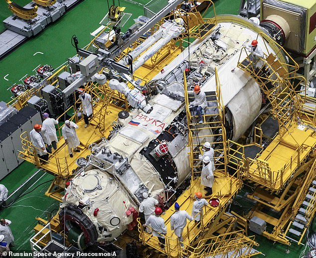 Nauka will be a new science facility, docking port and spacewalk airlock for future operations, along with provide additional crew quarters, a galley and toilet. Pictured is the module preparing for launch