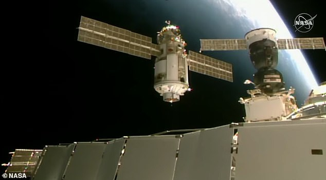 After eight days in free-flight, the uncrewed 43-foot-long module linked up to the port on the Earth-facing Russian segment of the ISS
