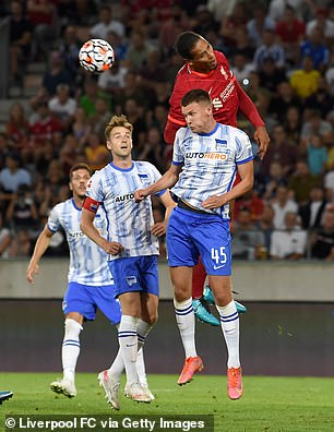Van Dijk played a part in Liverpool's third goal, scored by Alex Oxlade-Chamberlain