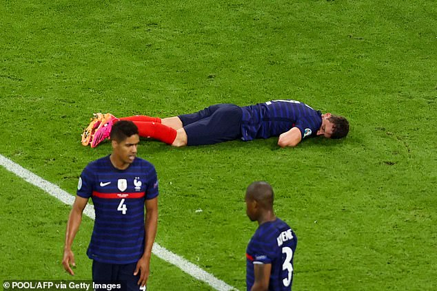 Benjamin Pavard was left poleaxed during the Euros but came straight back on after treatment