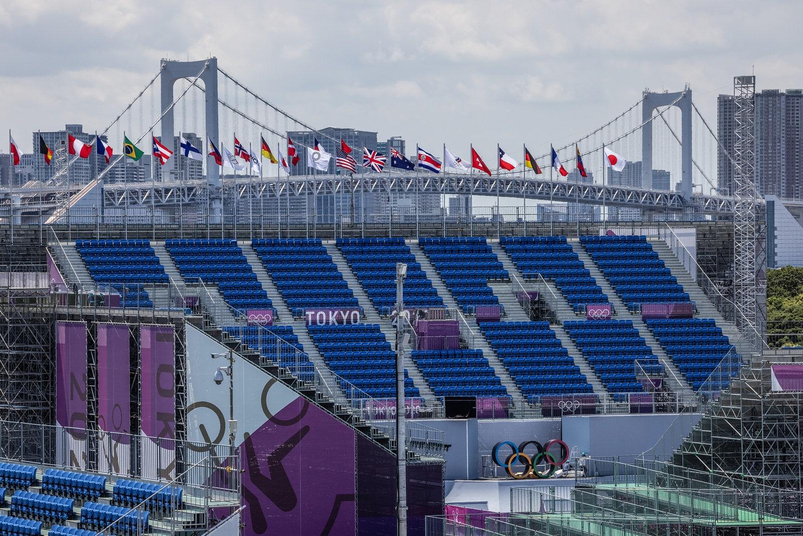 An empty Olympics stadium in Japan.
