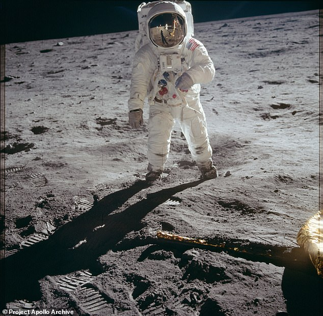 To create the panorama, artist Michael Ranger, who goes by rg1213, zoomed in on the reflection of the lunar surface in Buzz Aldrin's visor in this iconic image taken by Neil Armstrong and 'unwrapped it'