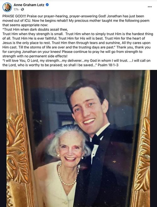 Anne Graham Lotz Facebook post on son