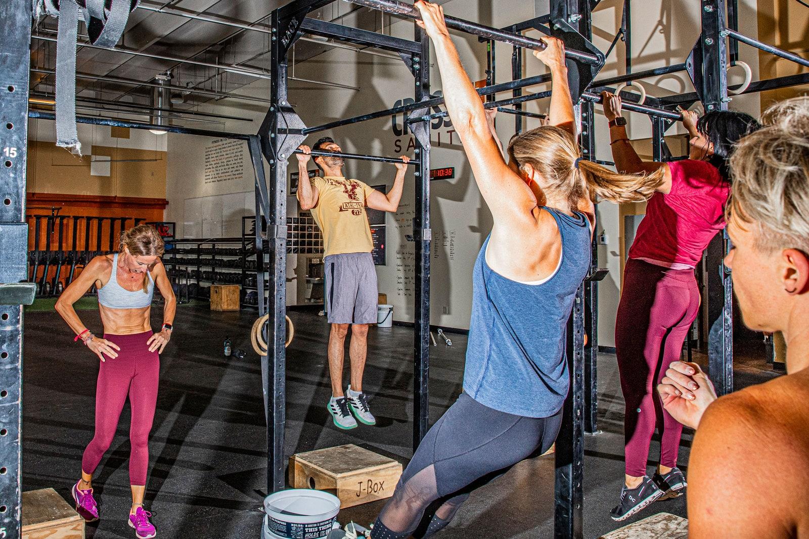 A group trains at CrossFit Sanitas in Boulder Colorado.