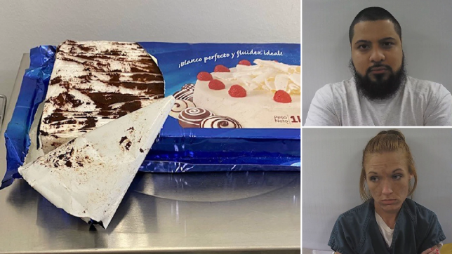 John Cedeno (top right) and Chelsy Cochran (bottom right) were arrested after a drug-sniffing dog found cocaine disguised in a marble cake in their trunk