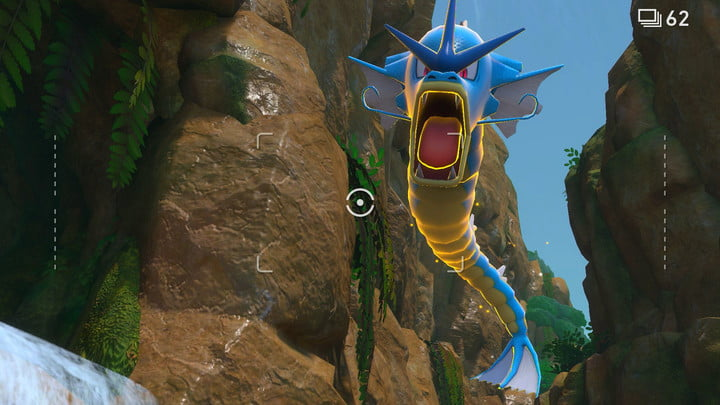 Gyrados leaps into the sky in New Pokemon Snap.