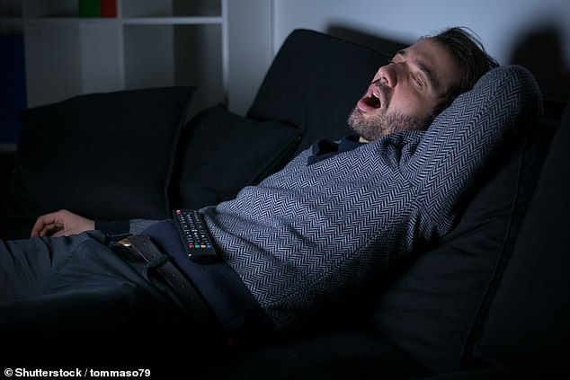 Spending more than four hours a day in front of the television increases your risk of obstructive sleep apnoea — and resulting snoring (pictured) — by 78 per cent, a study found
