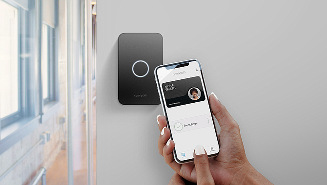Openpath's touchless, mobile-based door lock system.