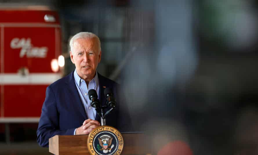 Joe Biden delivers remarks to reporters after doing a helicopter tour of the Caldor fire.