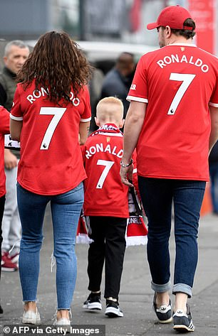 Hundreds of supporters arrived at the match wearing replica United shirts with Ronaldo's name on the back