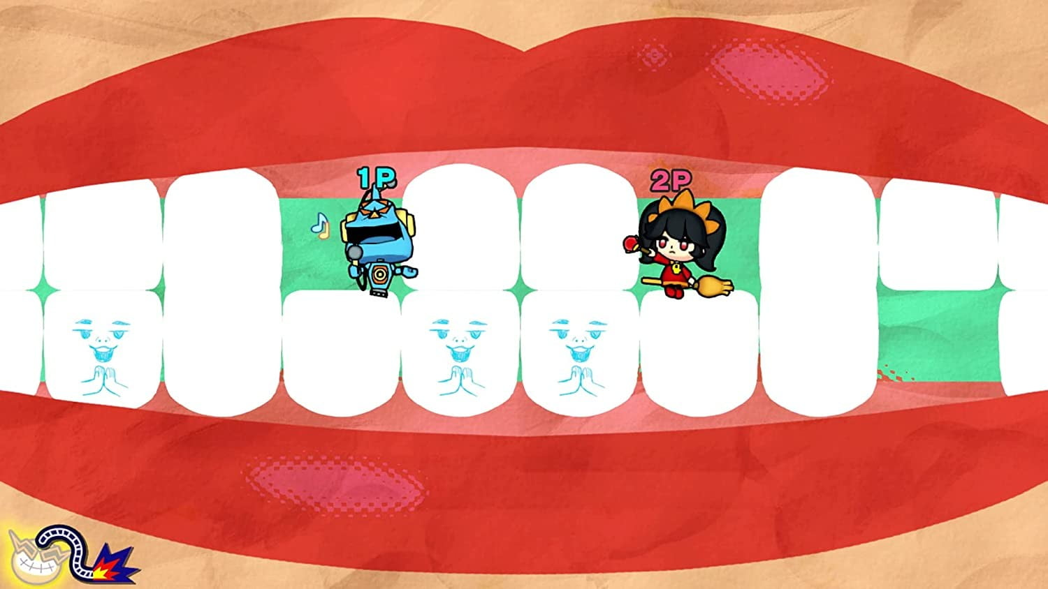 Two Wario characters sit in a mouth in WarioWare: Get It Together!