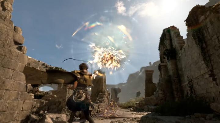 Frey shooting magic at a flying enemy.
