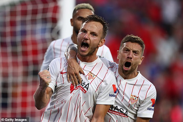 Sevilla were given a spot-kick at the end of the first half which captain Ivan Rakitic scored