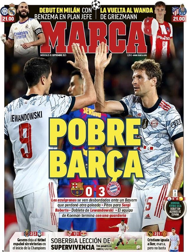 The front page of Marca reads 'poor Barcelona' and tears into the hosts after their 3-0 loss