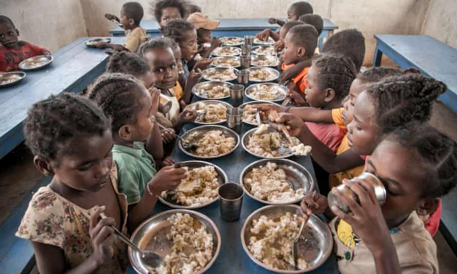 Pupils in southern Madagascar have lunch at primary school, provided by the World Food Programme.
