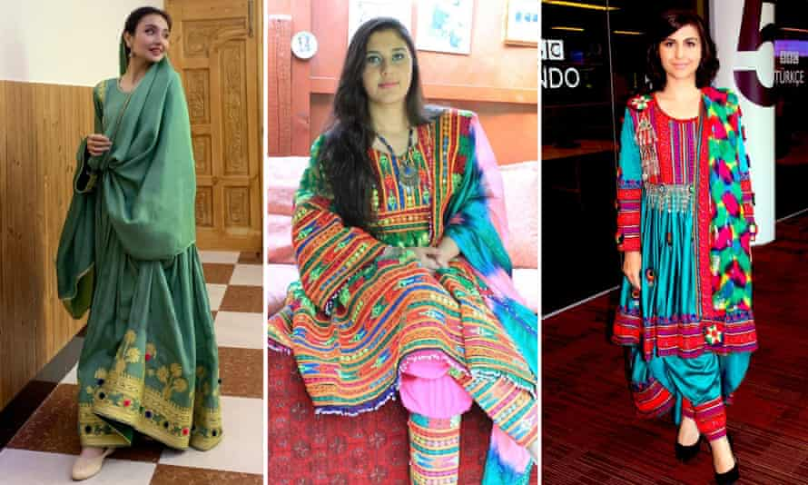 Sara Wahedi, Peymana Assad, and Sana Safi posted images of themselves in colourful traditional Afghan clothing on social media