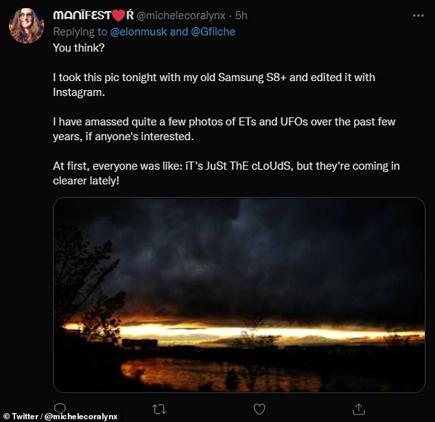 Back in March this year, the Pentagon released a report investigating 144 sightings of 'unidentified aerial phenomenon' between 2004 and 2021. Pictured: Twitter user @michelecoralynx offered her own pictures of UFOs and aliens