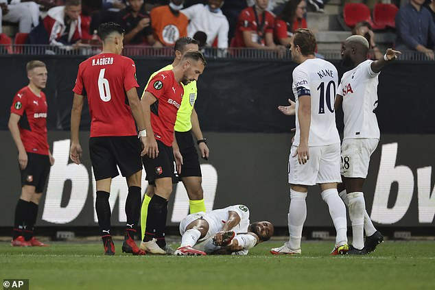 Lucas Moura (centre) was one of two players to get injured in Spurs' 2-2 draw with Rennes