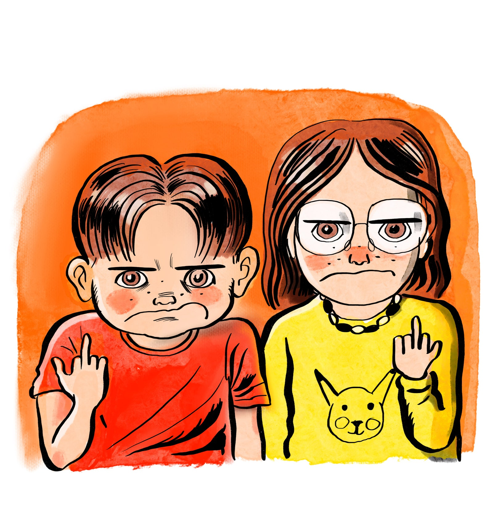 Two children giving the middle finger.