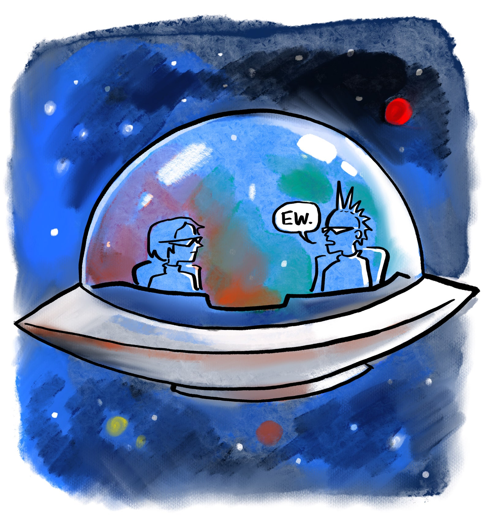 Two people in a spaceship.