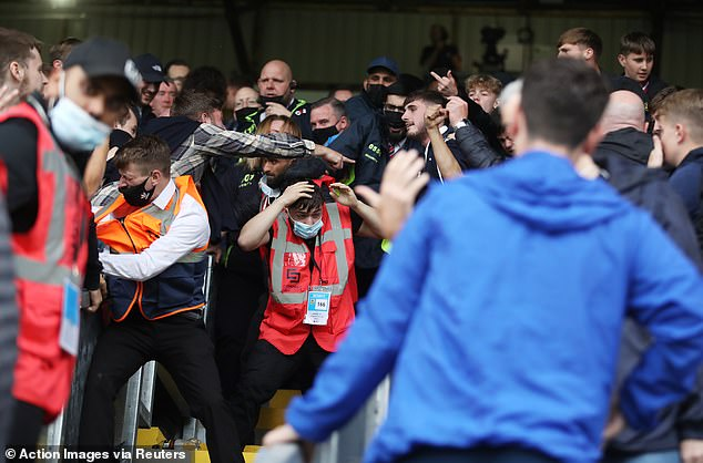 Stewards were caught in the middle of the melee after the final whistle on Saturday