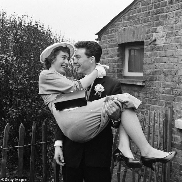 Greaves (right) married Irene Barden (left) at Romford register office in March 1958