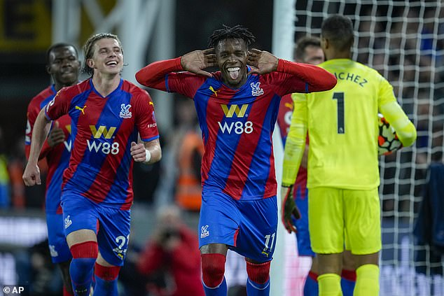 Maupay said it was the perfect time to give Zaha something after he had celebrated in front of Brighton's fans for the opening goal