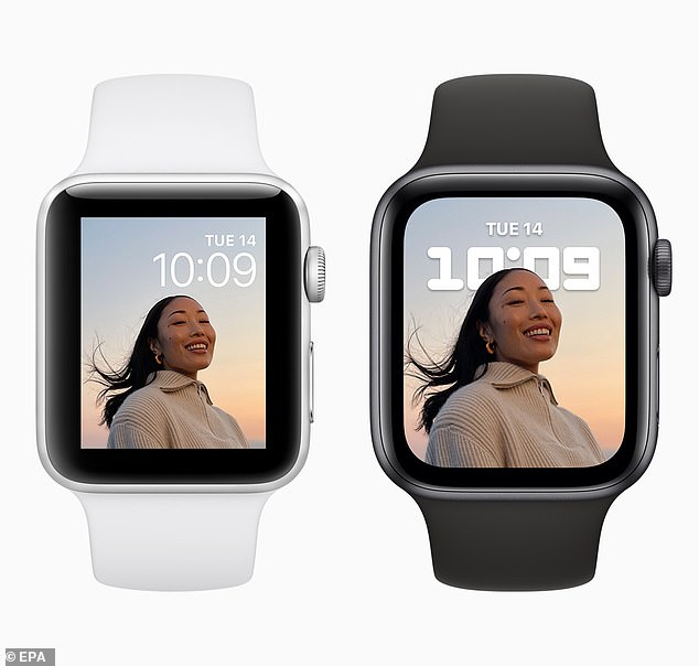 Apple Watch Series 7 (right),although packed with new features, has a new look from its predecessor with narrow boarders around the face that allow for a near all-screen display -making it 20 percent larger than the Series 6 (left)