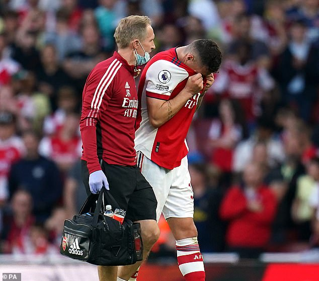The Switzerland international went off injured during Arsenal 's 3-1 win over Tottenham