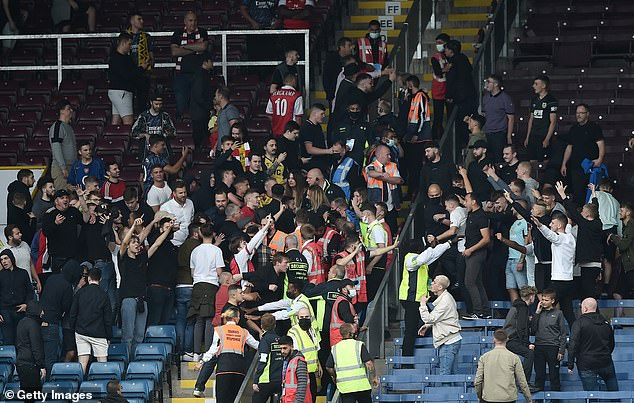 Arsenal and Burnley supporters clashed in ugly scenes after their Premier League encounter