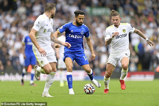 Andros Townsend (centre) is enjoying a fresh start at Everton after leaving Crystal Palace
